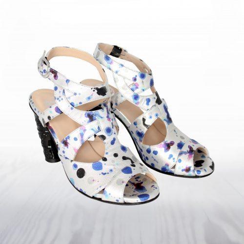 sandal high heel silver blue black