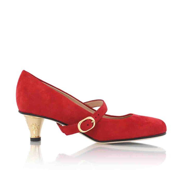 Buy Red Shoe Gold Heel