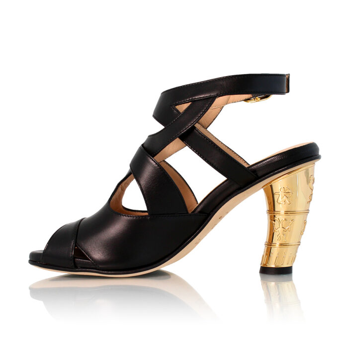 Look Sandal Black Gold Heel