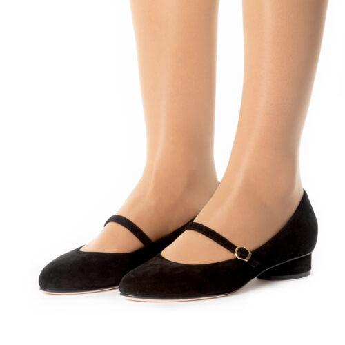 See Black Suede Ballerinas