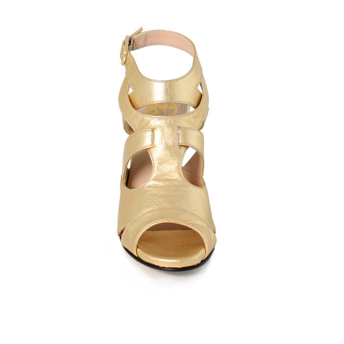 Kig Guld Sandal Med Hoj Hael