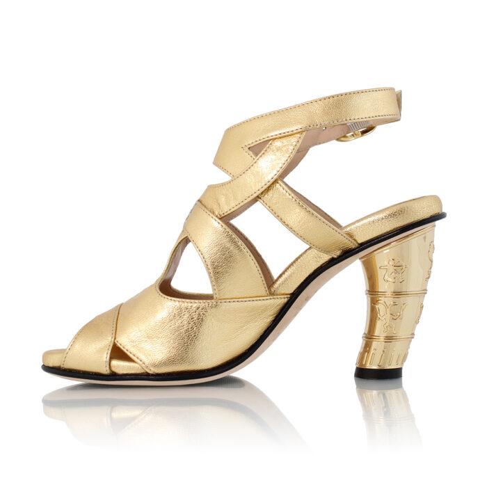 Køb Guld Sandal Med Guld Hael